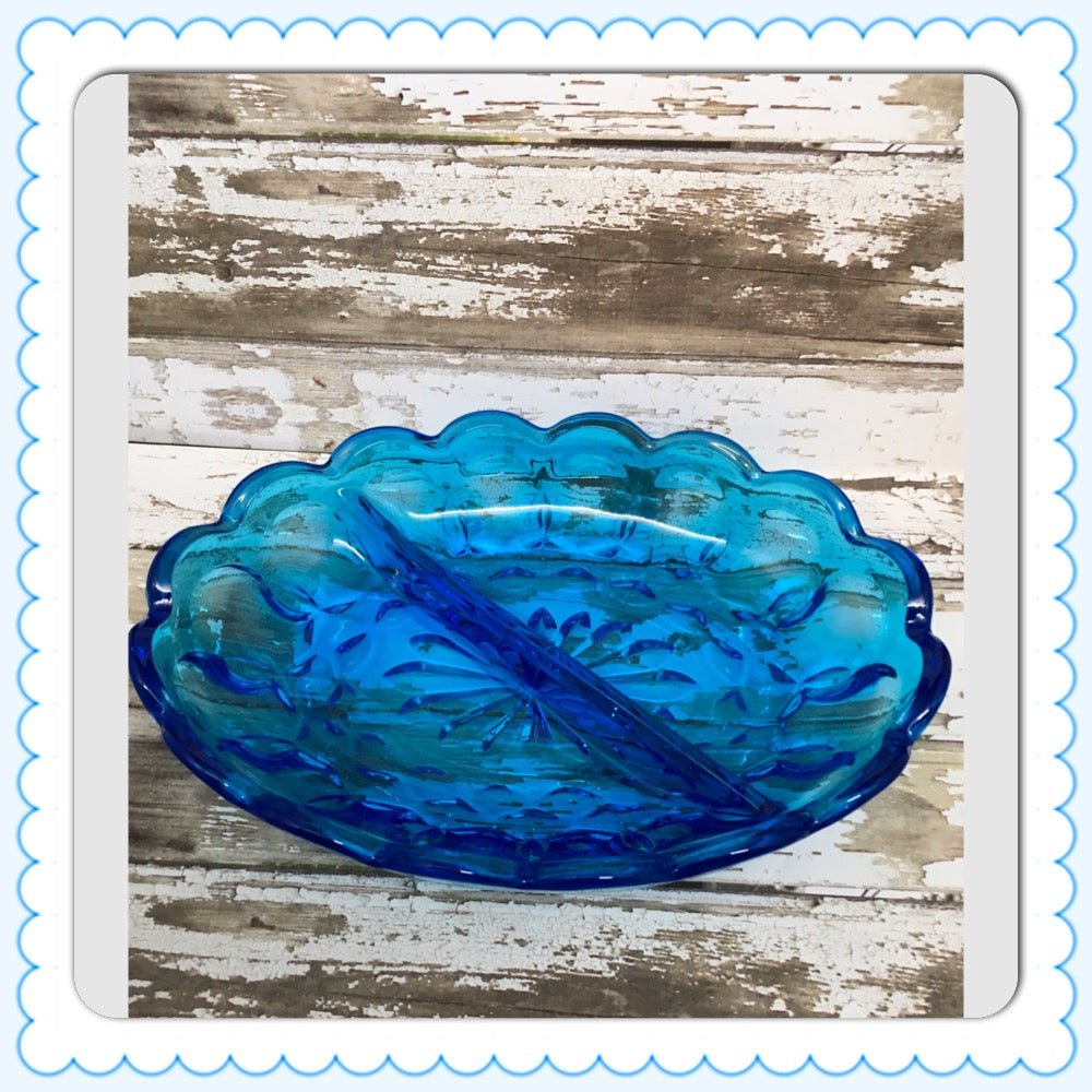 Dish Vintage Indiana Glass Aqua Blue Glass Thumb Print 2 Sections Scalloped Edge