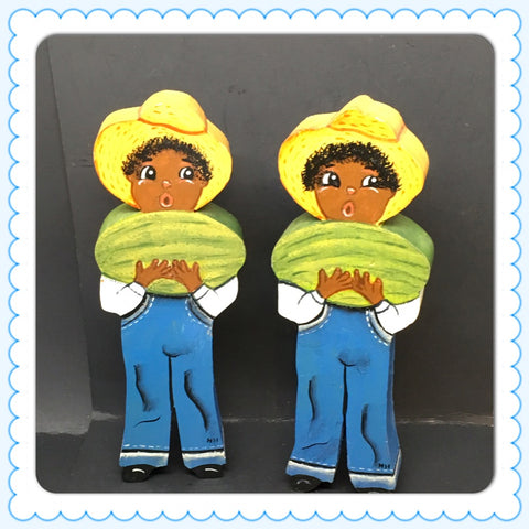 Shelf Sitter Black Americana Boy With Watermelon Vintage Collectible Memorabilia
