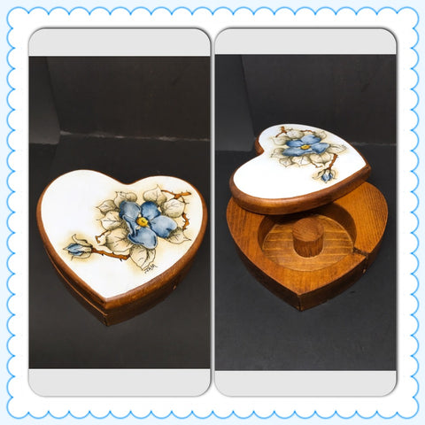 Tape Dispenser Heart Shaped Blue Floral Vintage Handcrafted Hand Painted Pen and Ink