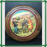 Picture Round ANRI No 1297 Wooden Christmas in Ireland Vintage Wall Art Country Cottage
