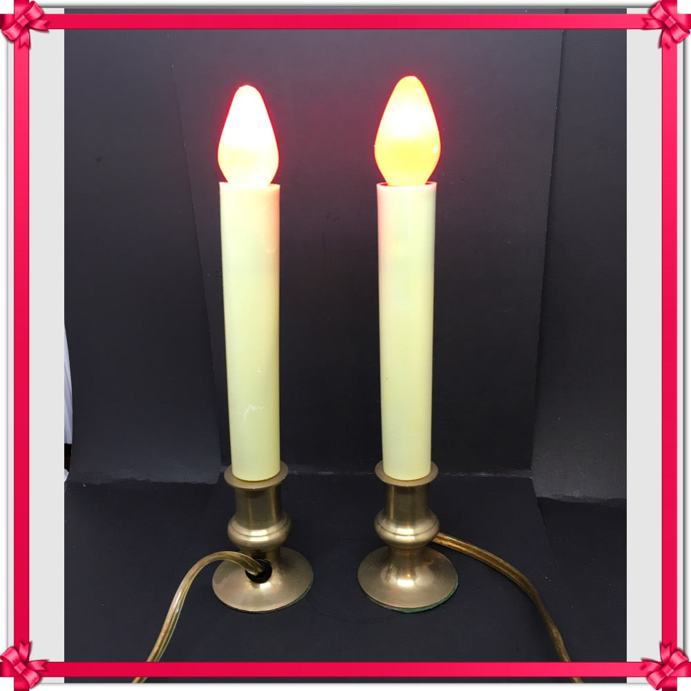 Candle Electric Window Lights Vintage Red Bulbs Works SET OF 2 - JAMsCraftCloset