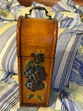 Bottle Box Carrier With Handle Hand Painted Grapes Closing Catch Vintage - JAMsCraftCloset