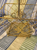 Basket Wire Christmas Square Vintage Gold Snowflake Mesh Bottom Holiday Decor Centerpiece - JAMsCraftCloset