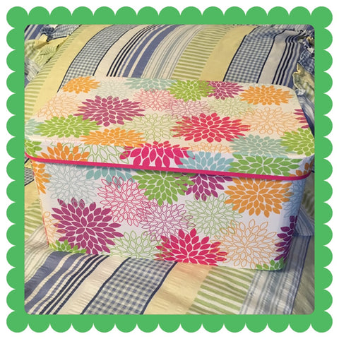 Box Rectangle With Carrying Slots Pink Green Aqua Orange Floral Cardboard Storage Home Decor - JAMsCraftCloset