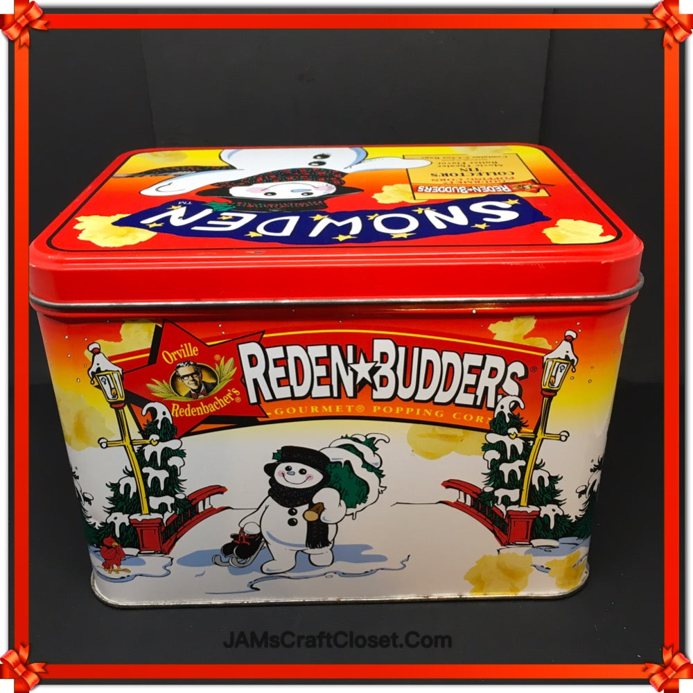 Pop Corn Advertising Tin Vintage Reden Budders SNOWDEN c. 1998 Collector Tin