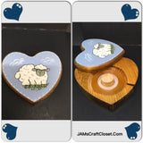 Tape Dispenser Heart Shaped Vintage Handcrafted Hand Painted Sheep Pen and Ink