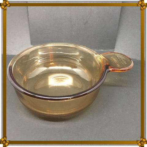 Vintage Corning Visions Grab-It Round Glass Casserole V-150-B Amber Vision