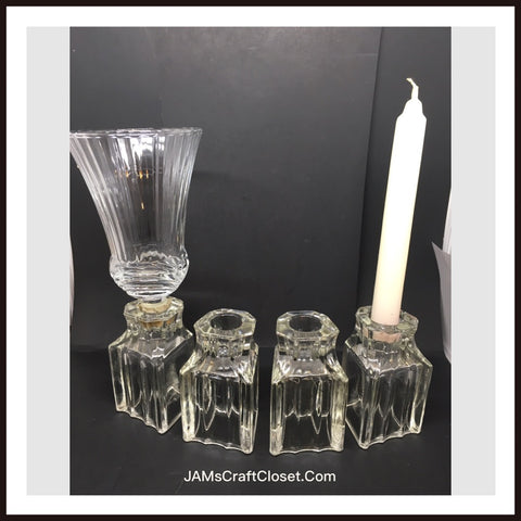 Candlestick Holder Votive Vintage Unique Clear Glass Shelf Sitter Home Decor SET OF 4 - JAMsCraftCloset