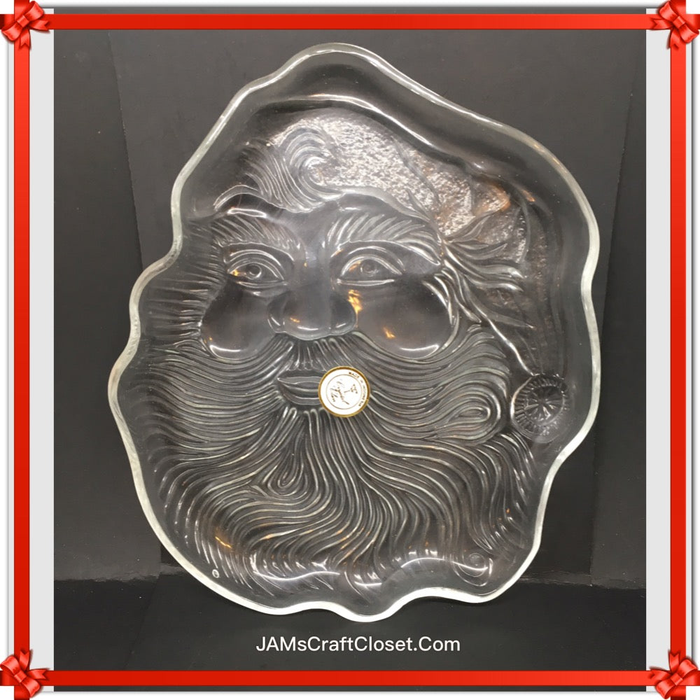 Candy Dish Santa Face Vintage Embossed Trinket Plate Dish Christmas