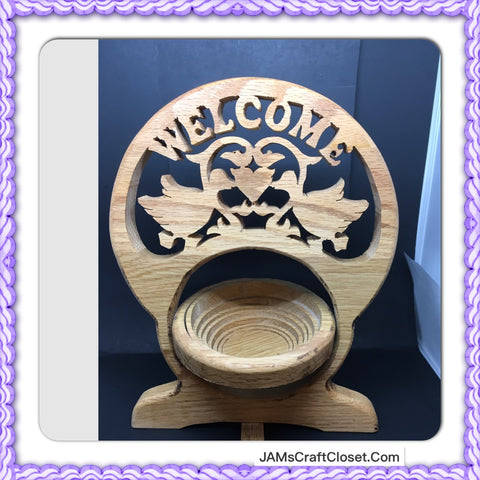 Welcome Wooden Plaque Sign Handmade by My DAD Shelf Sitter Key Holder Gift Idea