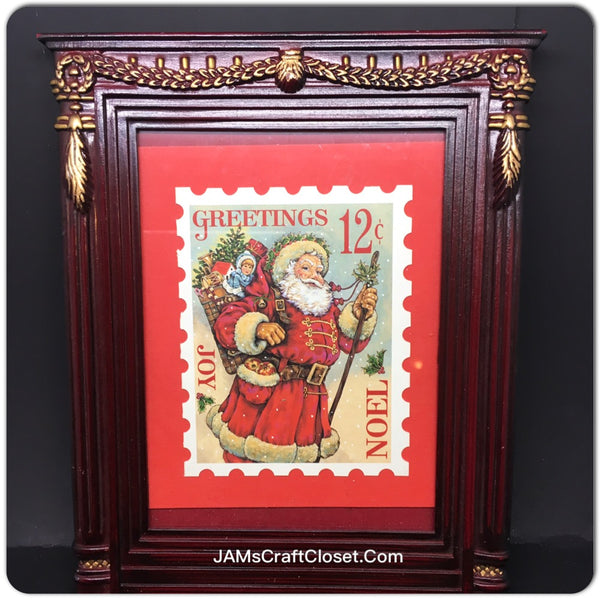 Santa Stamp Vintage Framed Wall Art Shelf Sitter Home Country Farmhouse Decor