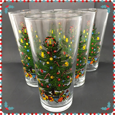 Glasses Vintage Clear Glass Christmas Tree Design SET OF 4 or 6