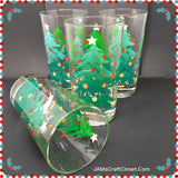Glasses Vintage Clear Glass Big and Little Christmas Tree Design SET of 4