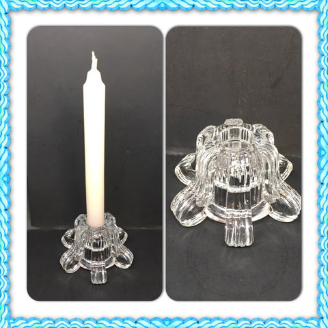 Candlestick Holder FLIP Tealight Holder Single Vintage Clear Plain Base With Claw Feet - JAMsCraftCloset