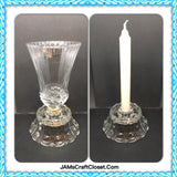 Candlestick Holder Single Vintage Clear Pressed Glass Scallops and Bubble Pattern - JAMsCraftCloset