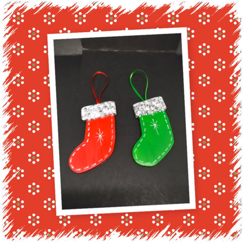 Ornament Red and Green Stockings Wooden Handmade Hand Painted SET OF 2