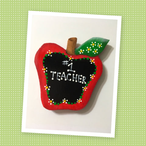 Magnet Wooden Number 1 Teacher Handmade Hand Painted Gift Appreciation Classroom Decor