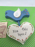 Blue Bird Folk Art Wooden Handmade Hand Painted Bless This House Vintage  Home Decor Wall Art - JAMsCraftCloset
