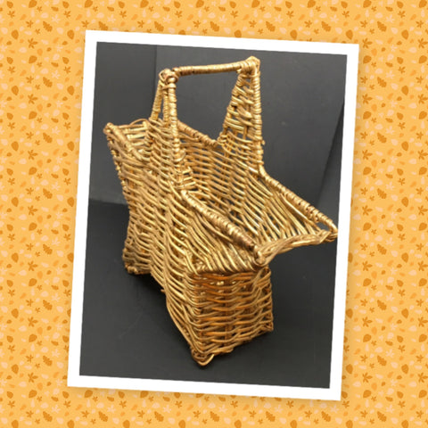 Basket Star Shaped Gold Wicker Shelf Sitter Storage - JAMsCraftCloset