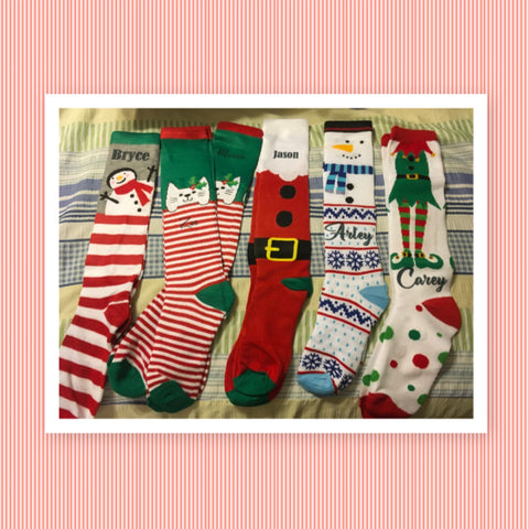 SOCKS Personalized Christmas Knee Socks ONE SIZE 5-9 Holiday Ware Gift Idea Unique