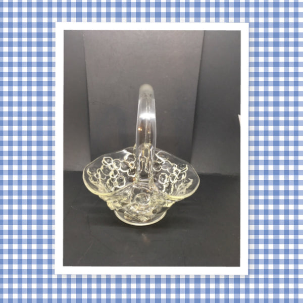 Basket Clear Glass Dogwood Design Vintage Indiana Glass Small Handmade - JAMsCraftCloset