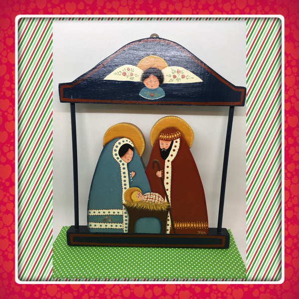 Nativity Scene Wooden Handmade Hand Painted Vintage Holiday Decor Christmas Decor Wall Art Wall Hanging