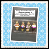Ornament Ice Cream Cones Vintage Christmas Glass Multicolored  SET OF 4