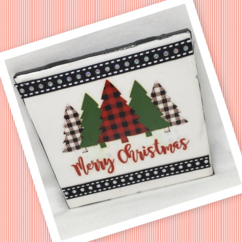 MERRY CHRISTMAS TREE BUFFALO PLAID Wall Art Ceramic Tile Sign Gift Idea Home Decor  Handmade Sign Country Farmhouse Gift Campers RV Gift Wall Hanging Holiday - JAMsCraftCloset
