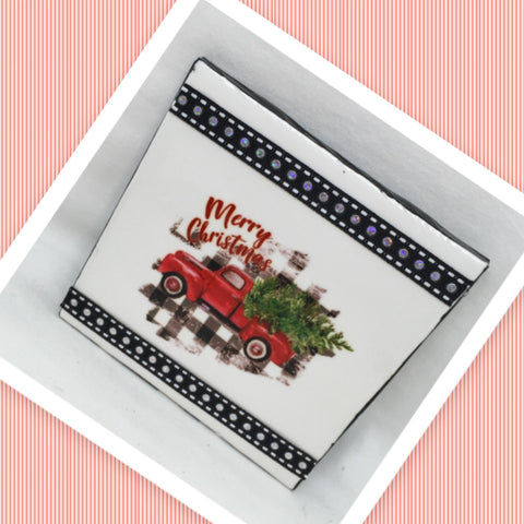 MERRY CHRISTMAS TRUCK AND TREE BUFFALO PLAID Wall Art Ceramic Tile Sign Gift Idea Home Decor  Handmade Sign Country Farmhouse Gift Campers RV Gift Wall Hanging Holiday - JAMsCraftCloset
