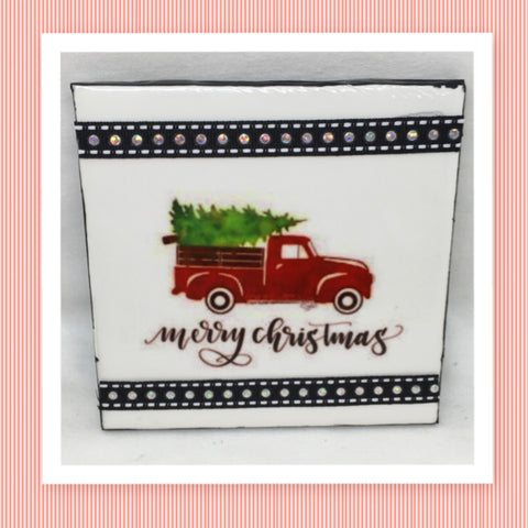 MERRY CHRISTMAS TRUCK AND TREE Wall Art Ceramic Tile Sign Gift Idea Home Decor  Handmade Sign Country Farmhouse Gift Campers RV Gift Wall Hanging Holiday - JAMsCraftCloset