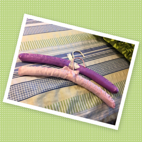 Hangers Vintage Padded Satin Fabric SET of 2 Pink and Purple Gift Idea