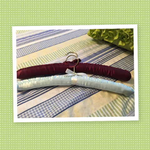 Hangers Vintage Padded Satin Fabric SET of 2 Burgundy and Mint Green Gift Idea