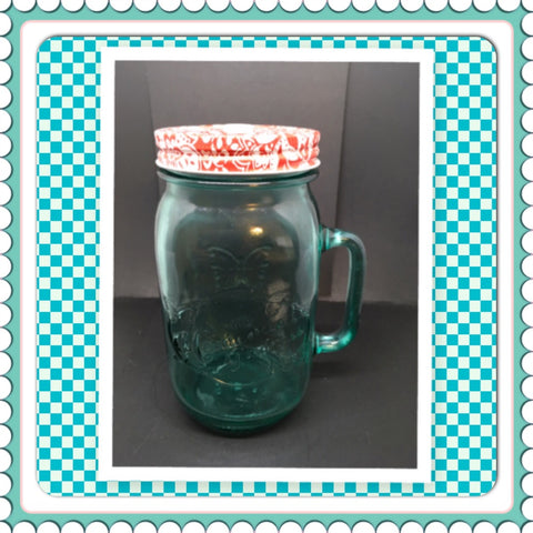 Green Glass Quart Canning Jar With Handle 7 Inches Tall 3 1/2 Inches in Diameter Gift