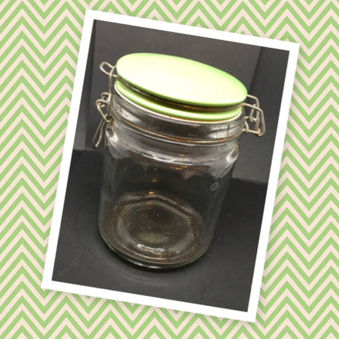 Canning Glass Jar Green Flip Top Clasp Vintage 6 Inches Tall 4 Inch in Diameter Gift
