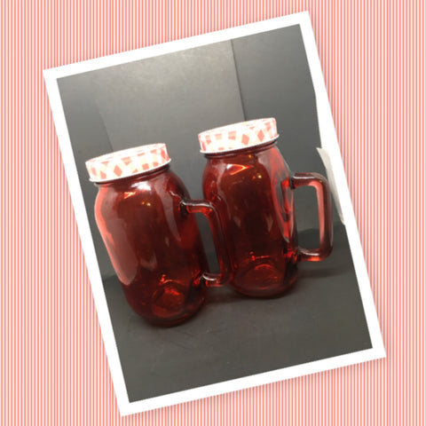 Red Glass Canning Jar With Handle 7 Inches Tall 3 Inches in Diameter Straw Lid Gift