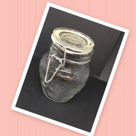 Flip Top Glass Jar TINY Vintage 4 1/2 Inches Tall Wire Holder With White Rubber Seal Embossed Fruit