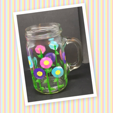 Mugs Mason Jar Hand Painted Floral Happy Dot Flowers Hot Pink Aqua Purple