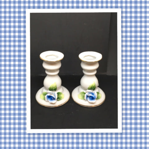Candlestick Votive Holder Vintage White Porcelain Blue Rose SET OF 2 Marking A 3004 Scissors