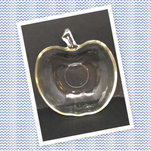 Apple Candy Dish Clear Glass VintageTeacher Appreciation Gift - JAMsCraftCloset