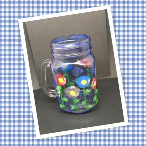 Mug Blue Glass Mason Jar Hand Painted Floral Happy Dot Flowers Red Silver Blue