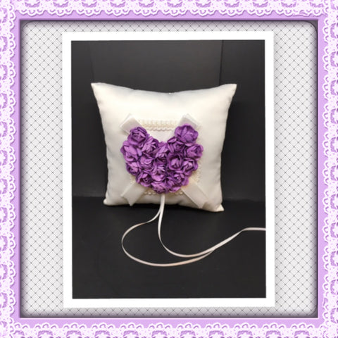 Ring Bearer Purple Heart Wedding Pillow in Purple and White 7 1/2 Inch Square