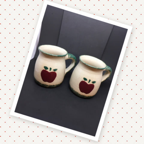Teacher Apple Stoneware Spongeware Mug SET OF 2 Gift for Teacher Appreciation