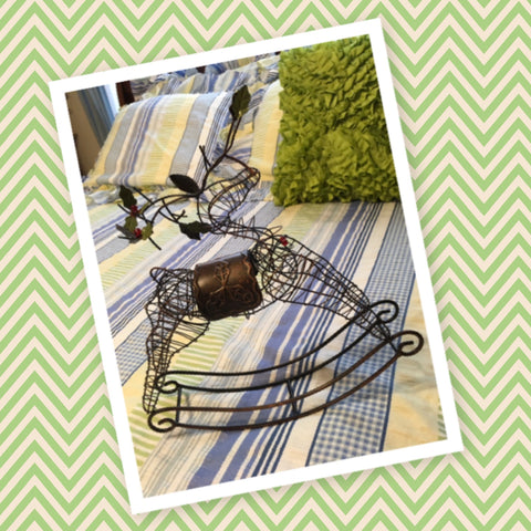 Rocking Reindeer Bronzy Wire Vintage Table Holiday With Holly and Red Bead Berries
