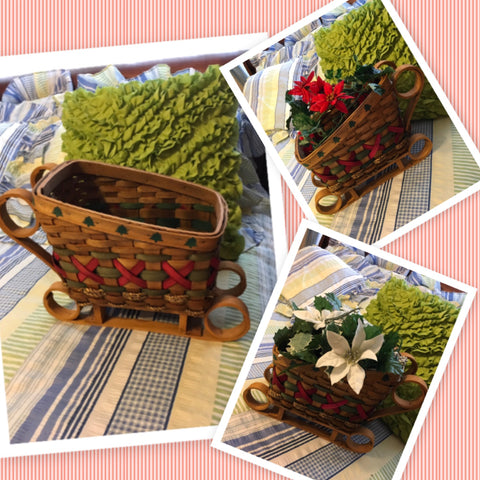 Sleigh Vintage Woven Basket Red Green With Stenciled Trees Wooden Runners Holiday