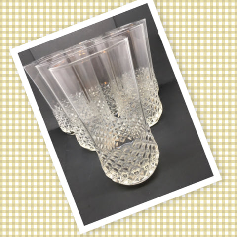Vintage Clear Glass Cut Waffle Design Smooth Bottom Tumblers Glasses SET OF 6