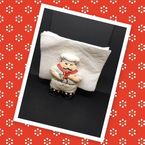 Fat Chef With With Bowl and Spoon Ceramic Napkin Holder Kitchen Bar Decor