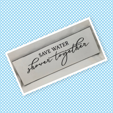 SAVE WATER SHOWER TOGETHER Ceramic Tile Sign Funny BATHROOM Decor Wall Art Home Decor Gift Idea Handmade Sign Country Farmhouse Wall Art Campers RV Home Decor Home and Living Wall Hanging Restroom Decor - JAMsCraftCloset