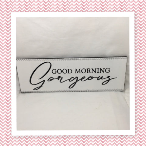 GOOD MORNING GORGEOUS Ceramic Tile Sign Funny BATHROOM Decor Wall Art Home Decor Gift Idea Handmade Sign Country Farmhouse Wall Art Campers RV Home Decor Home and Living Wall Hanging Restroom Decor - JAMsCraftCloset
