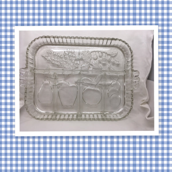 Serving Tray Unique Vintage Rectangle Crystal Indiana Clear Glass Fruits 5 Sections Molded Fruit