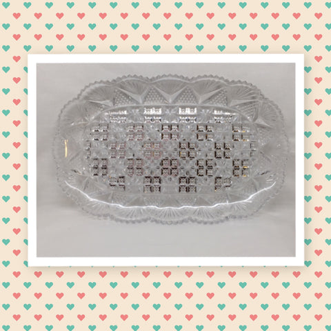 Tray Dish Relish Rectangle Clear Glass Vintage Fan Diamond Scalloped Edge